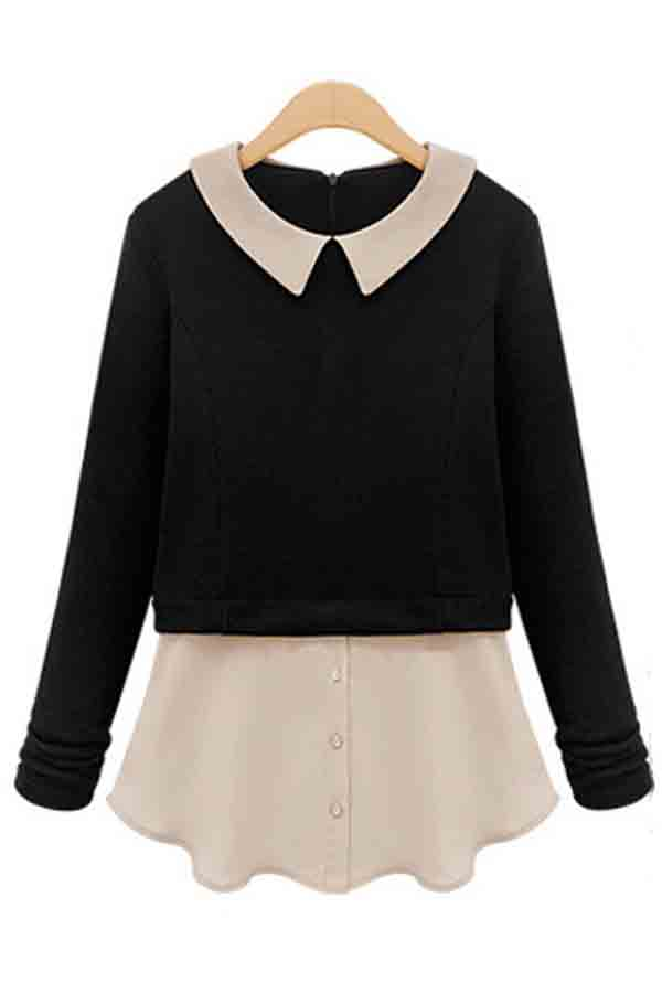 Black Fake Two-piece Peter Pan Collar Long Sleeve Blouse @ Womens ...