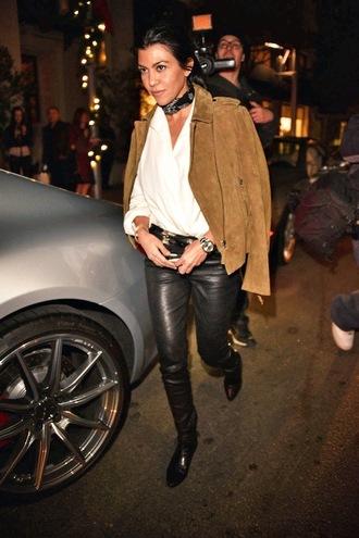 le fashion blogger scarf jacket blouse pants