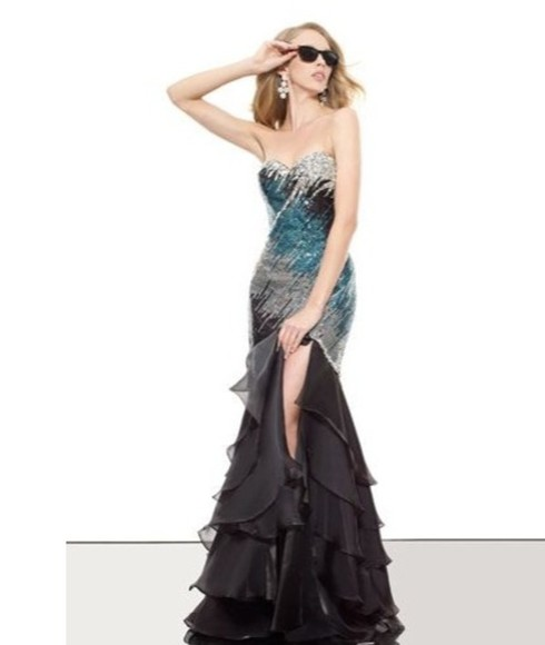 dress print black slit dreses unique prom sequin pretty new gown gowns