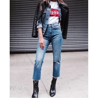 jeans tumblr denim blue jeans cropped jeans t-shirt white t-shirt black leather jacket leather jacket denim jacket boots black boots fall outfits
