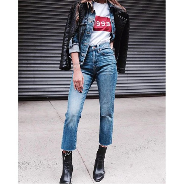Jeans Tumblr Denim Blue Jeans Cropped Jeans T-shirt White T-shirt Black Leather Jacket ...