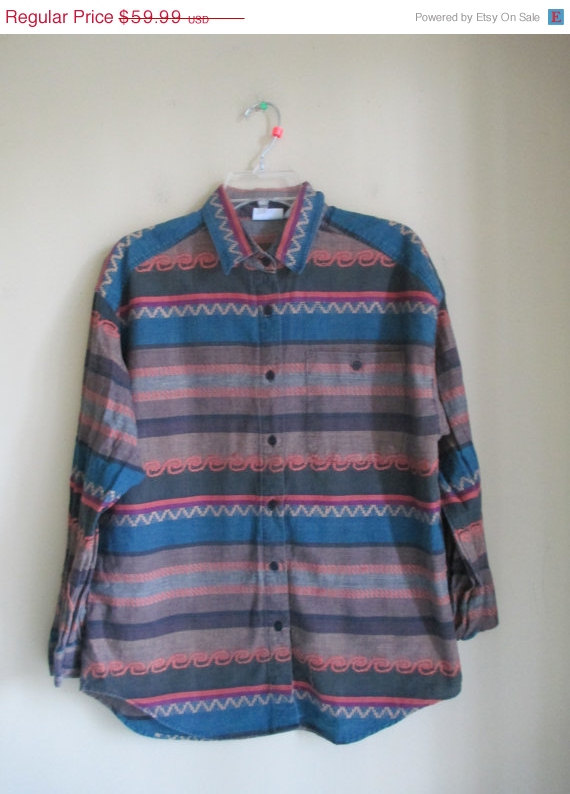 75% off new yrs vintage mens 90's native tribal print teal orange button down pocket collared shirt top sz medium