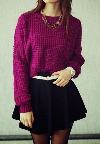 sweater бренд belt skirt top violet pull maille chic dress noire robe jupe black dress black skirt pants