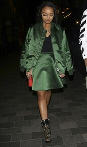 skirt,jacket,bomber jacket,leigh-anne pinnock,satin bomber,metallic bomber