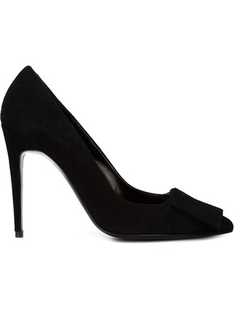 women pumps suede black shoes