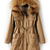Khaki Faux Fur Hooded Drawstring Pockets Coat - Sheinside.com