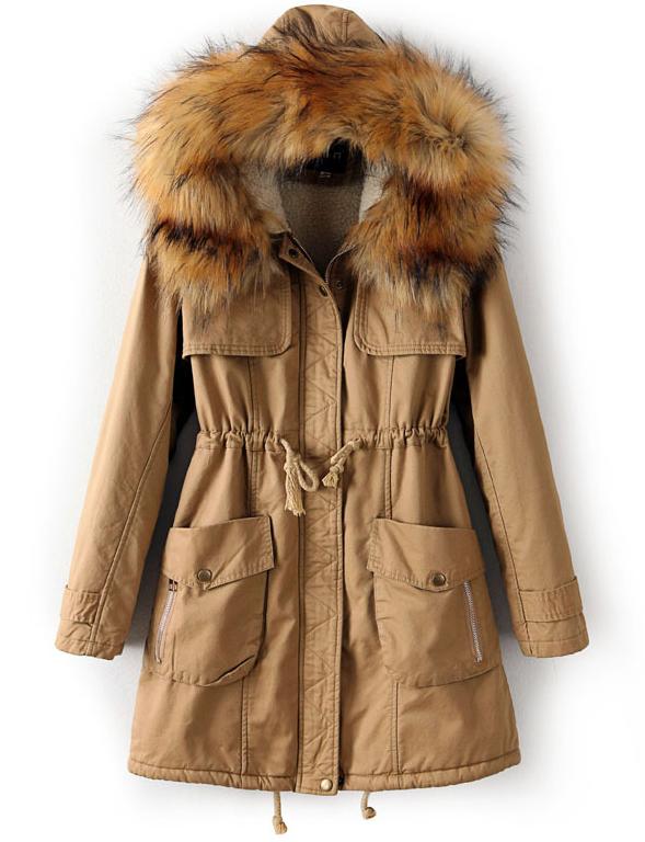 Khaki Faux Fur Hooded Drawstring Pockets Coat - Sheinside.com