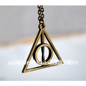 Free Shipping! Antique Bronze Harry Potter   Deathly Hallows charm pendant necklace-in Chain Necklaces from Jewelry on Aliexpress.com