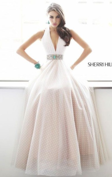 dress sherri hill prom dress white dress polka dots dress long dress