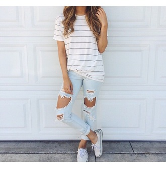 shirt stripes white t-shirt light blue jeans jeans
