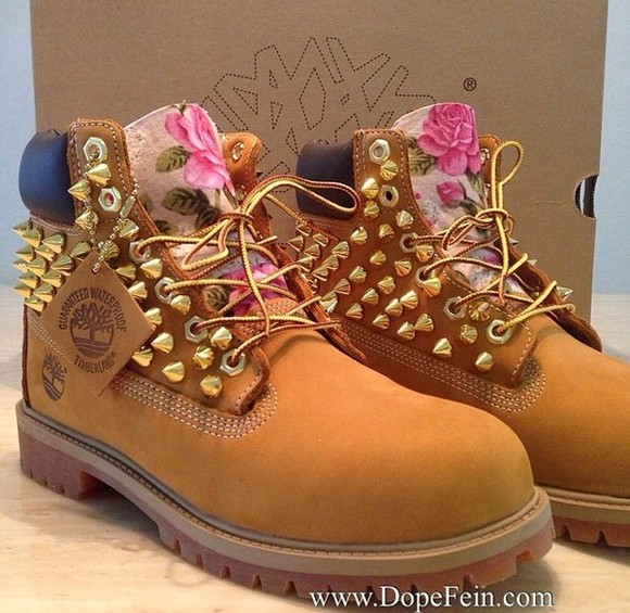 shoes studded shoes floral tims