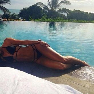 swimwear black bikini tropical bikini strappy bikini
