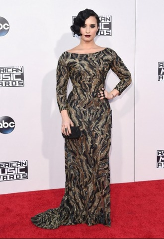 dress glitter dress demi lovato camouflage amas 2015 gown red carpet dress