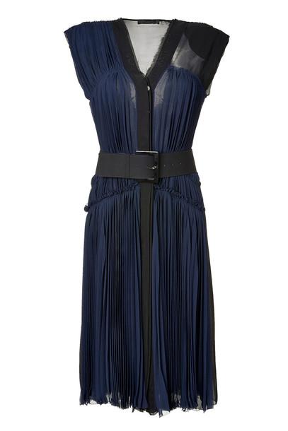 Donna Karan New York chiffon pleated belt silk blue