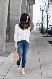 crystalin marie,blogger,blouse,jeans,bag,pumps,round bag,spring outfits