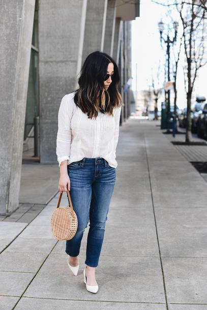 crystalin marie blogger blouse jeans bag pumps round bag spring outfits
