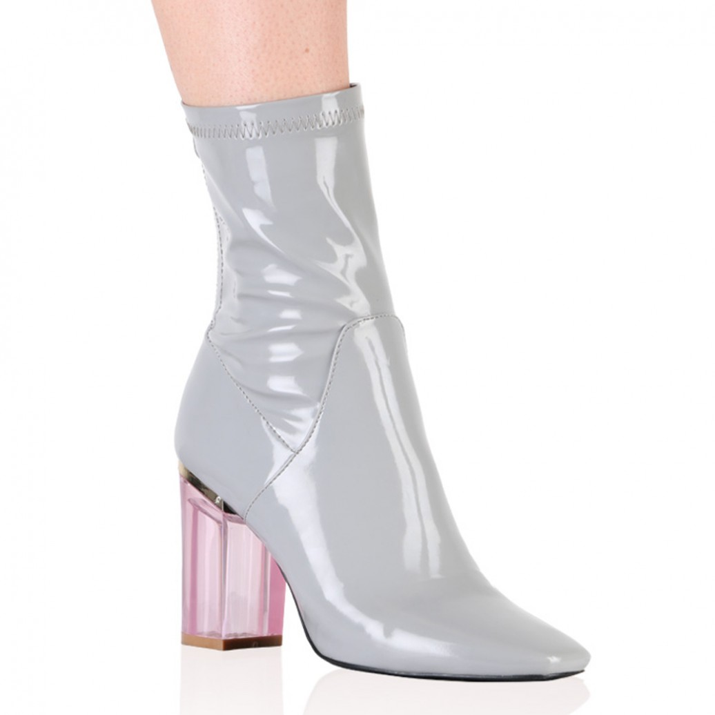 e6dd102af4 Chloe Perspex Heeled Ankle Boots in Grey | Public Desire