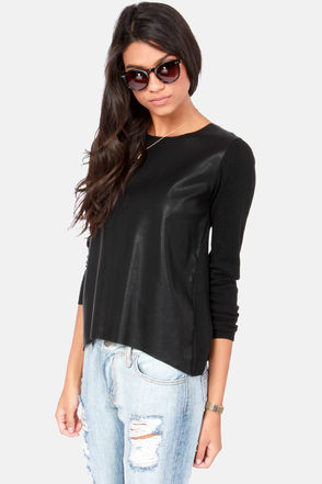Cool Black Top - Black Sweater - Sweater Top - Vegan Leather Top - $55.00