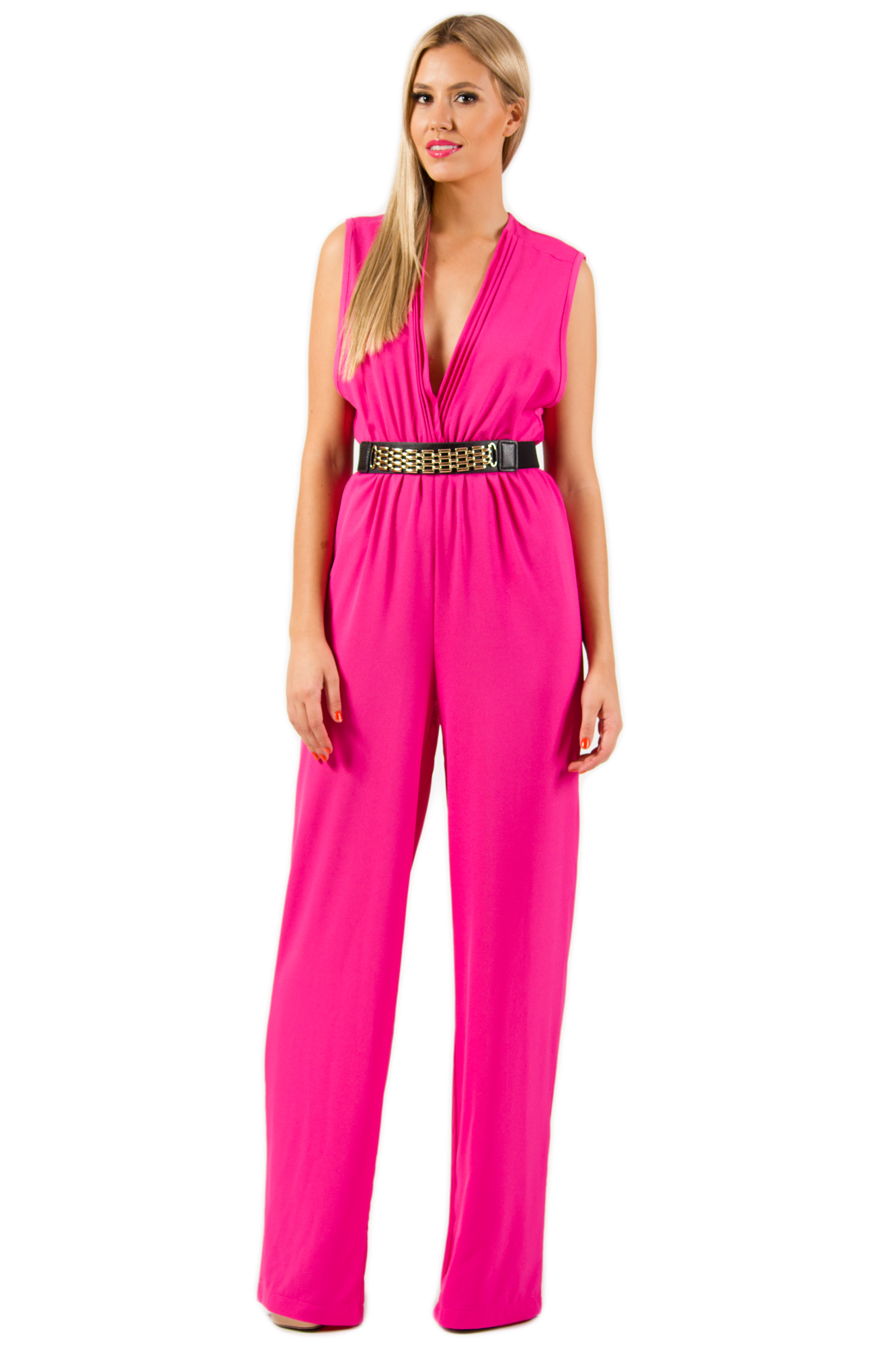 Pink Jump Suits/Rompers - Hot Pink V Neck Plunge | UsTrendy