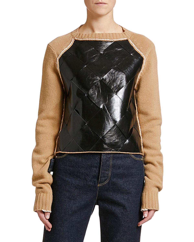 Bottega Veneta Leather-Front Wool Sweater | Neiman Marcus