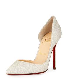 Christian louboutin iriza half dorsay glitter red sole pump, ivory