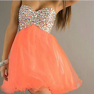 dress coral dress prom dress prom gown sequins