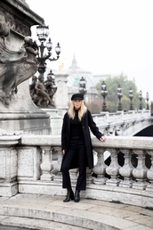 victoria tornegren,blogger,coat,pants,sweater,hat,fall outfits,all black everything,black coat,flare jeans,ankle boots