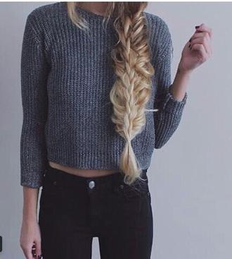 sweater grey sweater three-quarter sleeves blonde hair black jeans