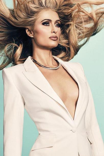 jacket blazer white blazer editorial paris hilton