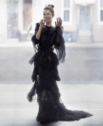 dress gown editorial ruffle bella hadid black dress prom dress lace dress long prom dress