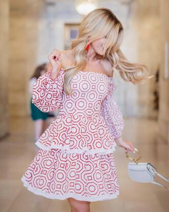 dress tumblr off the shoulder off the shoulder dress mini dress red dress puffed sleeves bag white bag date outfit jewels