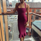 Halter mermaid midi bandage dress burgundy