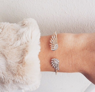 jewels jewelry bracelets silver wings feathers glitter cute