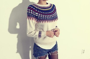 sweater aztec white clothes top t-shirt cute fashion fall outfits kawaii girly