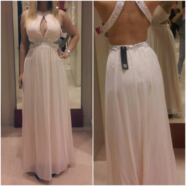 prom dress long prom dress backless prom dress light pink dress size 10 nude