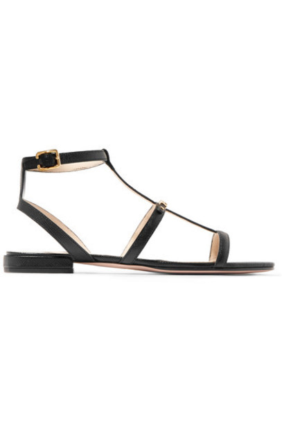 Prada sandals leather sandals leather black shoes