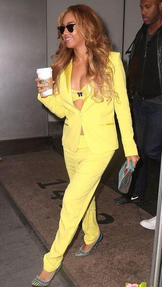 pants underwear blazer yellow beyonce pumps clutch sunglasses jacket bag yellow pants