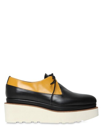 shoes lace-up shoes lace leather black yellow