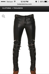 pants,leather pants,motorcycle pants,zipped pants,moto pants,black pants