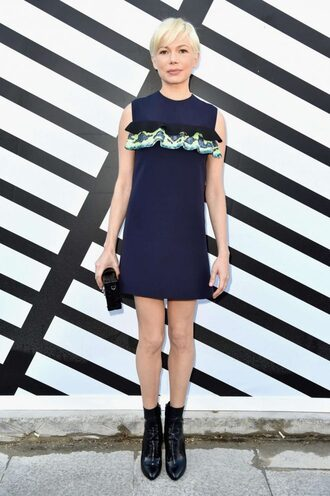 dress mini dress navy michelle williams paris fashion week 2016