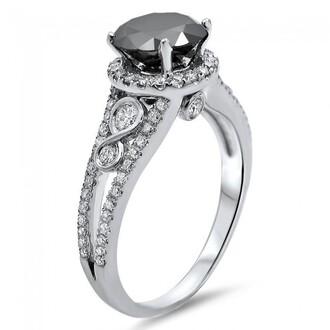 jewels round black diamond ring engagement ring fashion white diamonds side stones halo engagement ring with black diamond central stone white diamond halo ring evolees.com