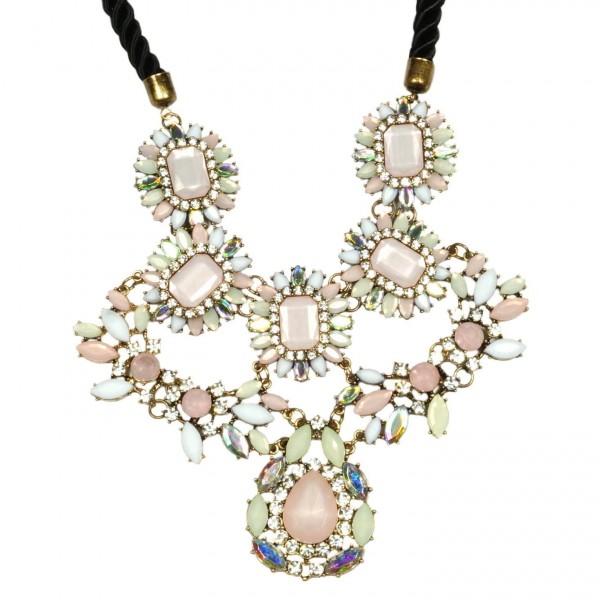 Pastel floral bib statement necklace