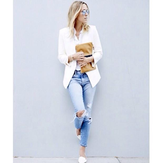 coat jeans white