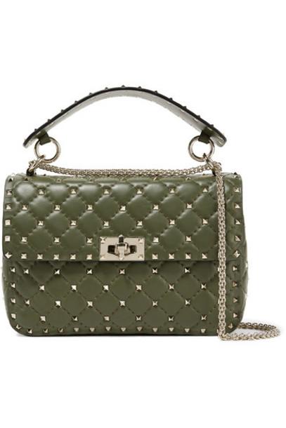 Valentino dark quilted bag shoulder bag leather green