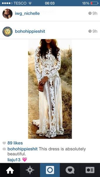 dress wedding dress bohemian white dress lace dress full length white lace floor length formal long fancy homecoming prom sheer long sleeved white white lace dress long wedding