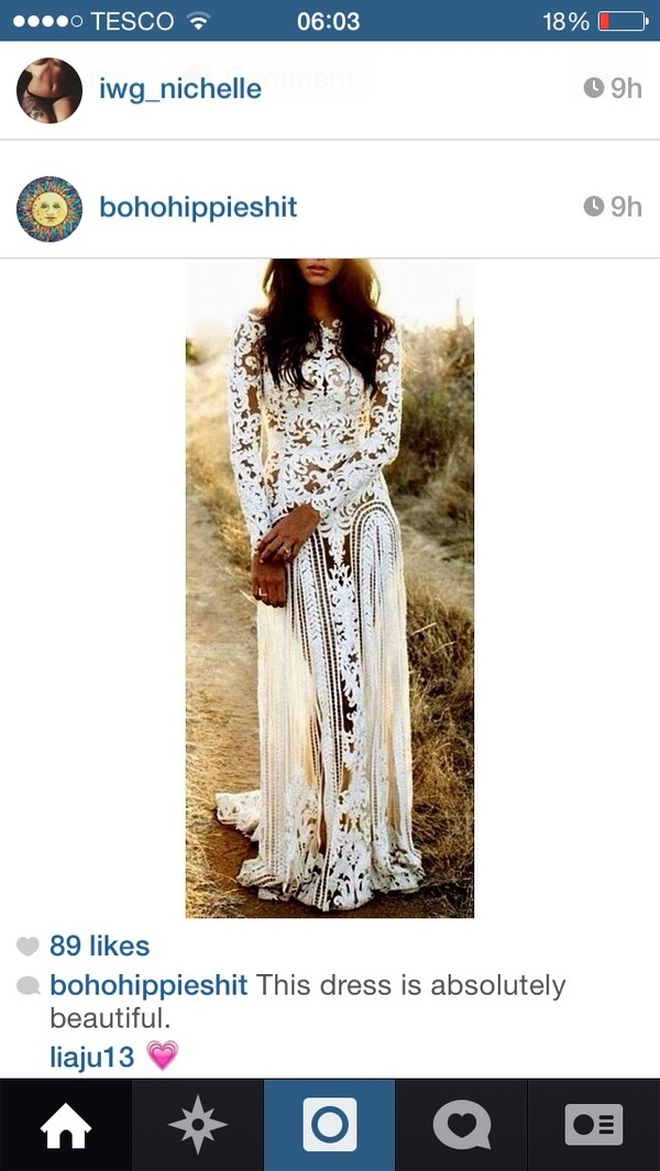 dress wedding dress bohemian white dress lace dress full length white lace floor length formal long fancy homecoming prom sheer long sleeved white white lace dress long wedding
