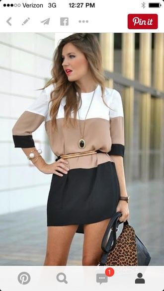 dress black brown white