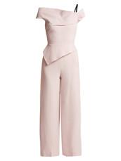 jumpsuit,peplum jumpsuit,wool,light pink,light,pink