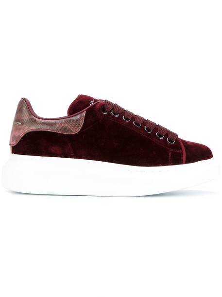Alexander Mcqueen women sneakers leather suede red shoes