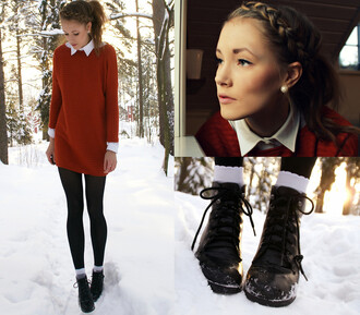 shoes boots black boots heels heeled boots black leather winter outfits winter boots socks autumn/winter jumper red pearl fall outfits sweater